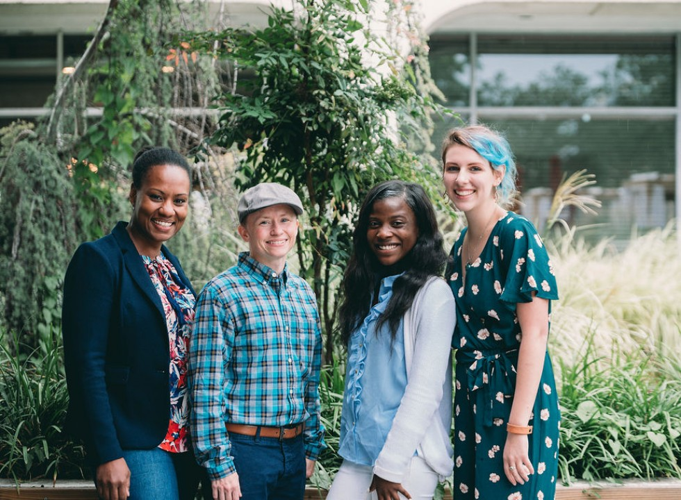 Four Youth Collaboratory Leaders Pose